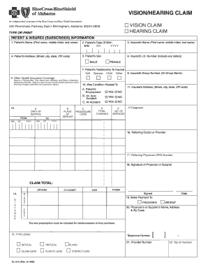 Vision Hearing Claim Form - Blue Cross and Blue Shield of Alabama
