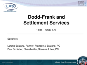 Dodd-Frank and Settlement Services - October Research