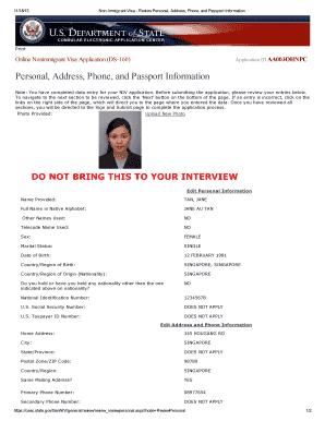 Fillable Online Form Ds 160 Visajourney Fax Email Print Pdffiller
