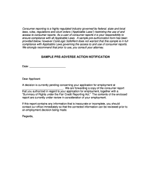 Fillable Online Sample Pre Adverse Action Letter 20100601doc Fax
