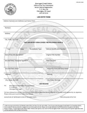 Fillable Online LIEN ENTRY FORM - Muscogee (Creek) Nation Fax ...