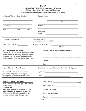 johnson omalley application form 603