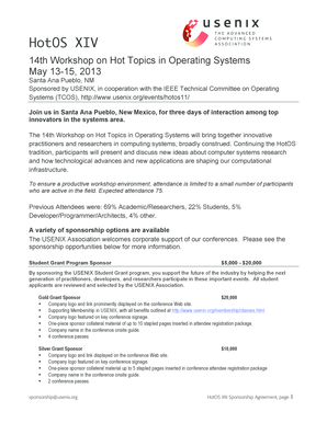 14th Workshop on Hot Topics in Operating Systems - usenix
