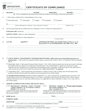 4231201 DATE: March 12, 2012 SUBJECT: Verification and Compliance with PA Steel Products Procurement Act TO: District Executives Attn: Assistant District Executives Construction FROM: Brian G