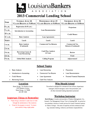 2013 Commercial Lending School - Louisiana Bankers Association - lba