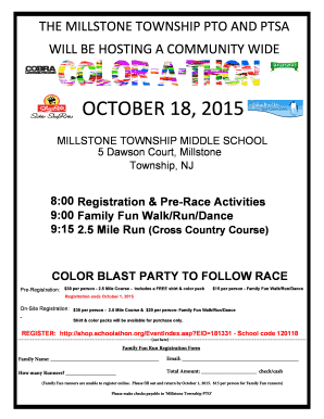 fillable online color a thon flyer and family fun run registration