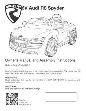 fillable online rollplay 6v audi r8 spyder brollplaybbnetb rh pdffiller com 2014 Audi Q5 Audi Q5