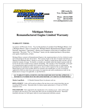 Fillable Online Michigan Motorz Remanufactured Engine Limited