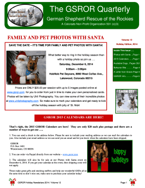 GSROR Holiday Newsletter 2014