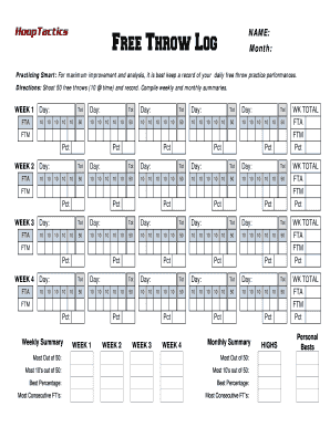 image regarding Printable Music Practice Log named Fillable On-line Absolutely free Toss Log Fax E-mail Print - PDFfiller