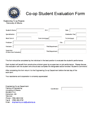 Co-op Student Evaluation Form