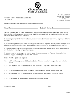 Selective service letter of explanation   Fill Out, Print