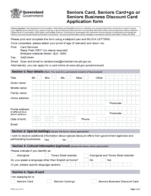 Fillable online seniors card application form application for fill online colourmoves