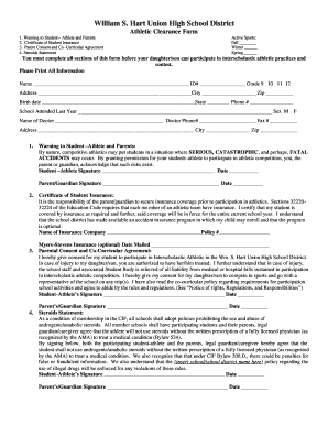 Athletic Clearance Form - Hart Indians Football
