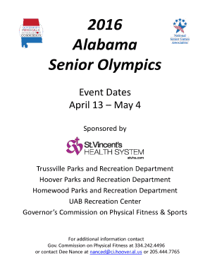 Senior Games Alabama EVENT REGISTRATION Name Age Avoid conflicts Check time schedule on form and DO NOT choose events in the same time slot Applications will be returned if time conflicts appear Events will not be delayed