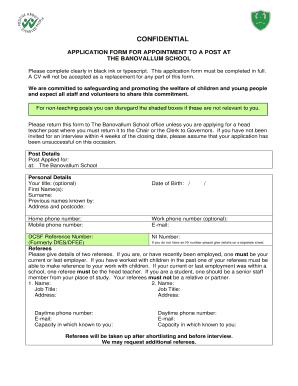 Fillable Online Banovallumschool Co Application Form Pdf