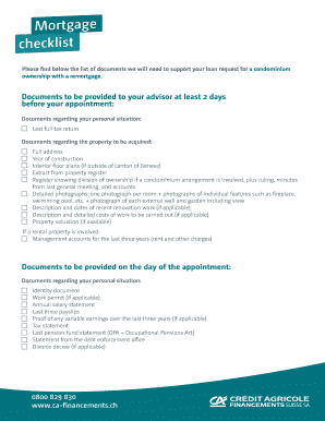 mortgage checklist condominium ownership remortgage please find below the list of documents we will need to