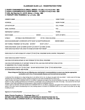 Fillable Online CLADDAGH GLEN LLC - REGISTRATION FORM Fax Email