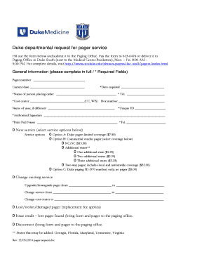 Duke Departmental Request for Pager Service Logo - Duke Office of ... - oit duke
