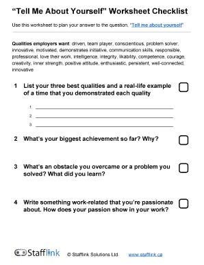 Tell Me About Yourself Worksheet Checklist - Stafflink ...