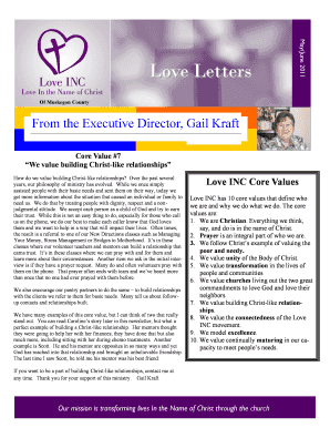 May/June 2011 Love Letters Of Muskegon County From the Executive Director, Gail Kraft Core Value #7 We value building Christlike relationships How do we value building Christlike relationships