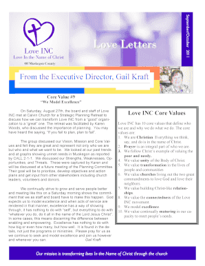 September/October 2011 Love Letters Of Muskegon County From the Executive Director, Gail Kraft Core Value #9 We Model Excellence On Saturday, August 27th, the board and staff of Love INC met at Calvin Church for a Strategic Planning Retreat