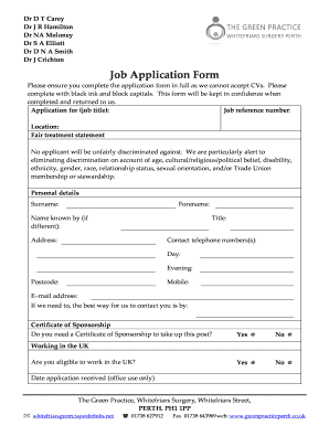 Fillable Online greenpracticeperth co Job Application Form ...