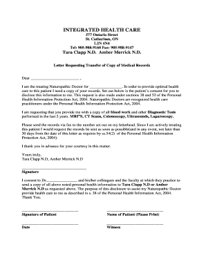 request for medical records letter