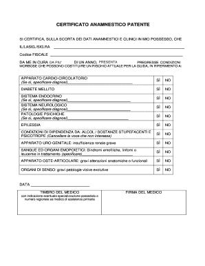certificato anamnestico