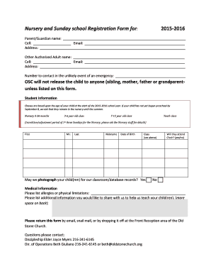 Nursery And Sunday School Registration Form For   Oldstonechurch  Paper Registration Form Template