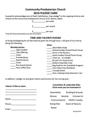 pledge card template for church