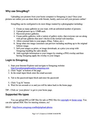 Editable smugmug pricing page - Fill, Print & Download