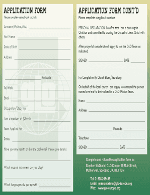 Application form cont'd application form - GLO - glo-europe
