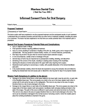 dental extraction consent form - Fillable & Printable Online