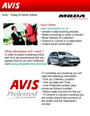 Fillable Online Avismbda Co Avis Easy To Book Online Avis