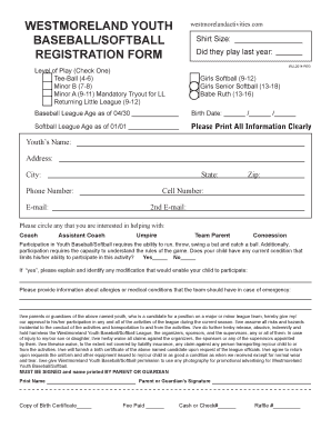 photograph about Printable Tryout Numbers titled Printable Printable Baseball Registration Style Template