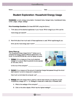 Student Exploration Household Energy Usage - Fill Online ...
