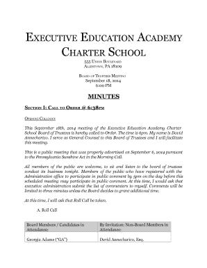 Fillable Online Ee Schools Eeacs Board Meeting Minutes Executive