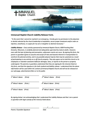 Printable Church liability release form - Fill Out