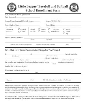 Little league school enrollment form printable form templates to little league baseball and softball school enrollment form to be filled out by parentlegal maxwellsz