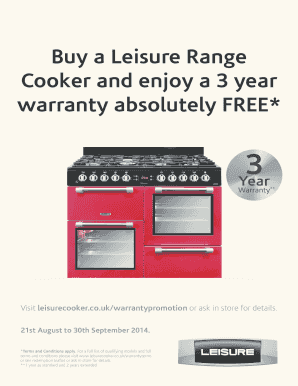 Buy a Leisure Range Cooker and enjoy a 3 year warranty