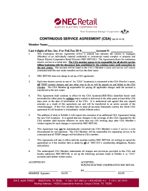 Commercial Property Management Agreement. CONTINUOUS SERVICE AGREEMENT  (CSA) (rev 04 ...   NEC Retail