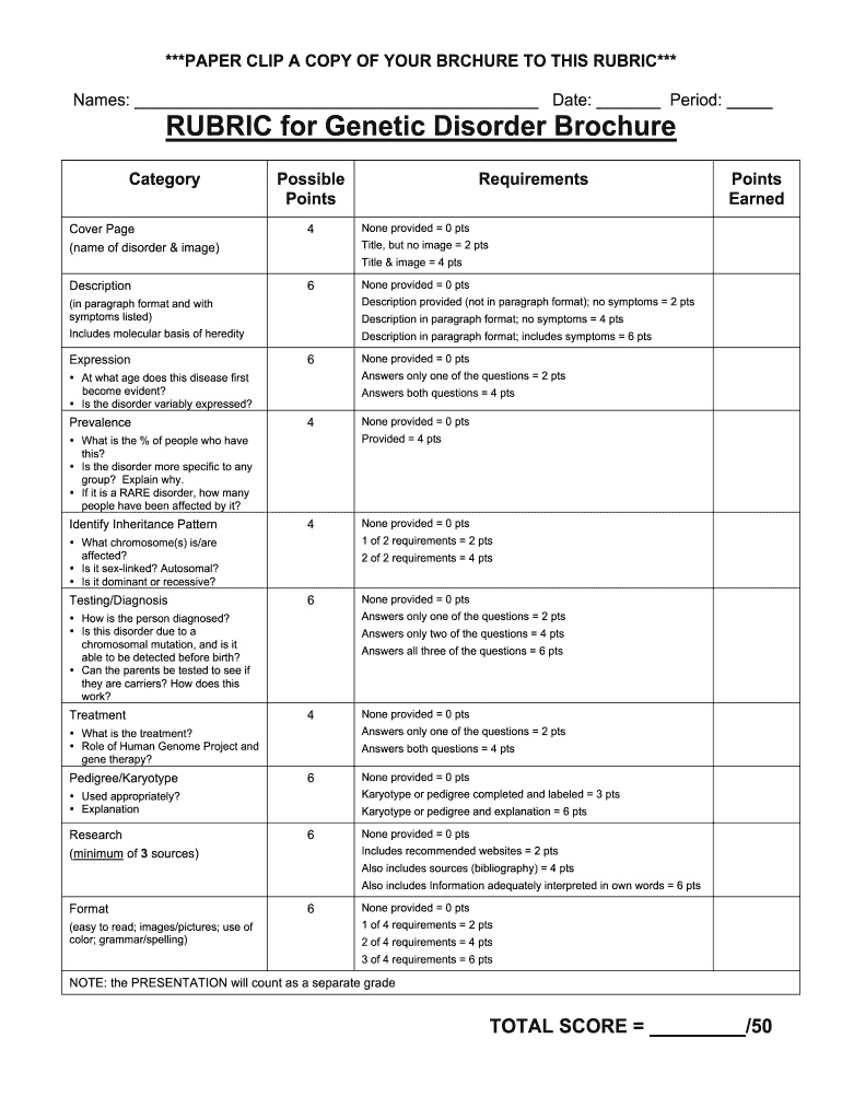 Fillable Online RUBRIC for Genetic Disorder Brochure - Mr. Doc&#23 Intended For Brochure Rubric Template