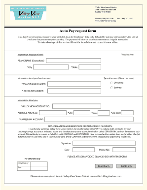 Auto Pay request form - Valley View Sewer - valleyviewsewer