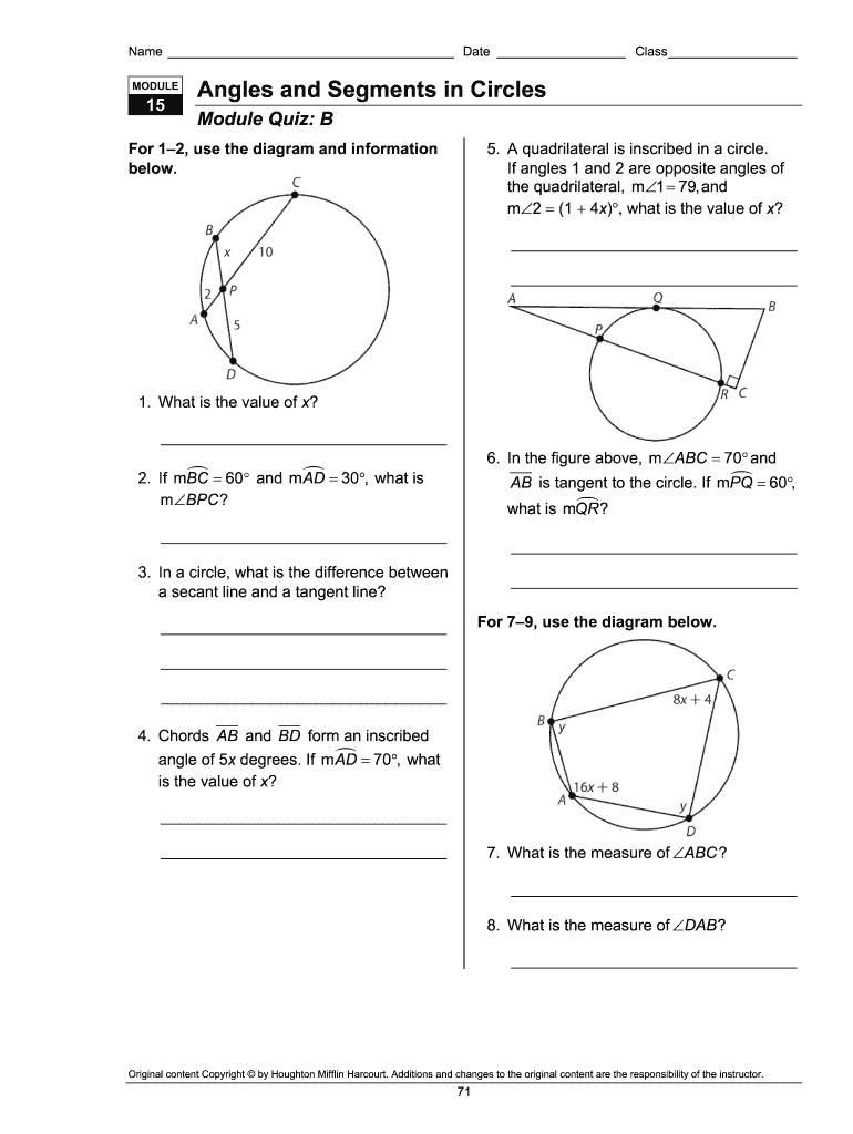 Module 15 Angles And Segments In Circles Answer Key - Fill ...
