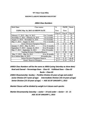 Fillable Online ABGA Class Numbers JABGA Class Numbers will
