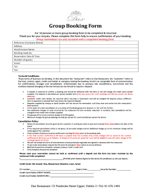 Group Booking Form - bDaxb Restaurant
