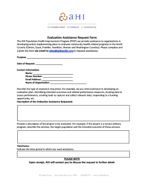 Evaluation Assistance Request Form - Healthy ADK