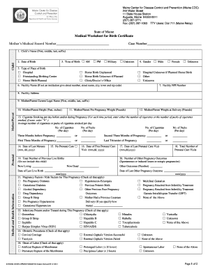 Medial Worksheet for Birth Certificate - Maine Association of ...