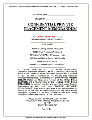 Confidential Private Placement Memorandum Regulation D Rule 506 PCC Capital Investments, LLC MEMORANDUM# ISSUED TO: CONFIDENTIAL PRIVATE PLACEMENT MEMORANDUM PCC CAPITAL INVESTMENTS, LLC A Delaware Limited Liability Corporation $100,000,000
